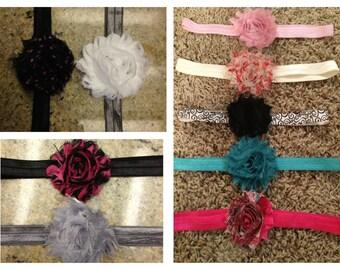 Set of 4 Shabby Chic -Baby/Girls interchangeable Headbands- Choose any 4 flowers and any 4 elastic headbands. Free Shipping