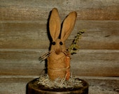 Tiny Primitive Folk Art Easter Bunny Rabbit on Round Trinket Box - Pin keep/trinket box
