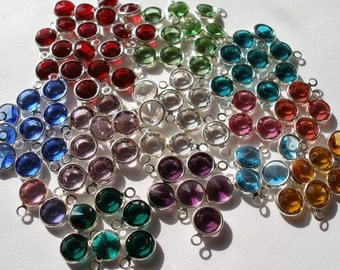 Set of 12 Swarovski Crystal Birthstone Drops Silver Plated Channel Set Drops FREE SHIPPING