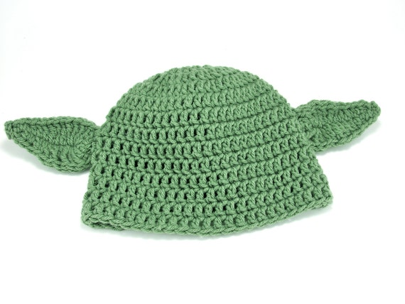 Crochet Yoda Inspired Hat for Adult with Wired by TheLilliePad