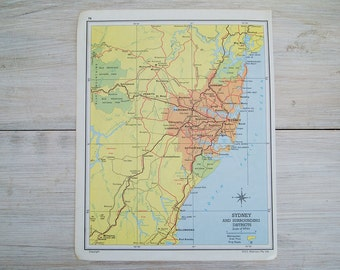 vintage sydney surrounding districts map