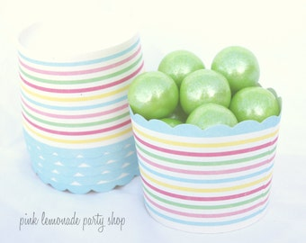 Rainbow STripe--Nut/Candy/Baking Cups--25ct--Parties--cupcakes-gumballs-snacks