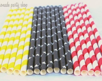 MoVIE Night -red stripe,yellow stripe and black star---Paper  Straws---25ct with Free Printable diy Flags