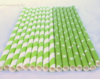 LiMe Green STARs and STRiPeS MiX ---Paper  Straws---25ct with Free Printable diy Flags