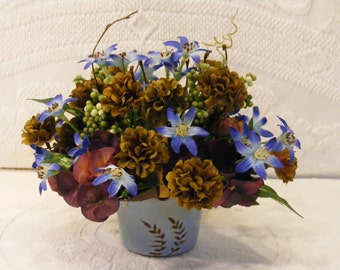 Dusty Blue and Brown Artificial Arrangement in Hand Made Japanese Clay Basket