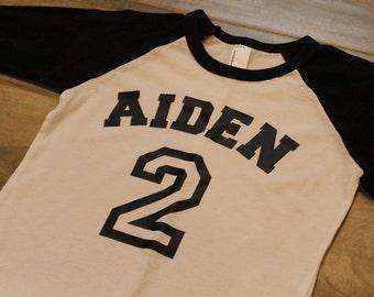 BIRTHDAY shirt - Kid's personalized NAME and NUMBER raglan baseball shirt