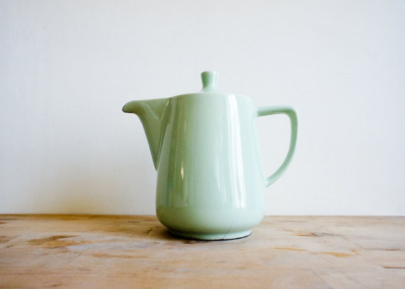 Vintage French Coffee Pot 1950 S Ceramic Pastel Mint