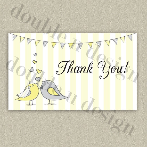 Love Birds Thank You Note - Bridal Shower, Wedding, Engagement Party - Printable