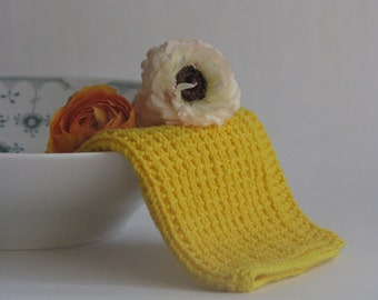 Hand knitted dish cloth - wash cloth - soft cotton yellow lemon sunflower