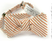 self-tie Wedding Mens Bow Tie Tunde Adebimpe -  Blue seafoam and coral striped Tie