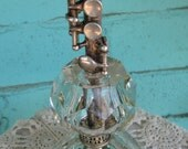 Signed Vintage Artley Piccolo Lamp 110v  W/ Leaded & Etched Crystal base, Silver Accents, Antique Beaded Shade For That Music Lover  No. 209