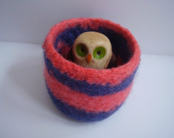 wee felted wool bowl, ring holder, navy and punch striped container, desktop storage, office decor