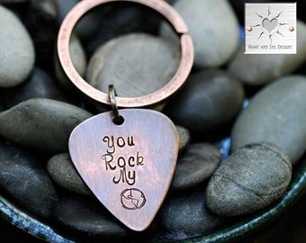 Guitar Pick Keychain - You Rock My World - Custom Gift - Earth Day - Copper Anniversary - Gift - Gift for Him - Valentine's Day Gift