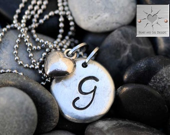 Monogram Necklace - Hand Stamped Necklace - Initial - Pewter - Personalized - Mother's Day Gift - Wedding Gift