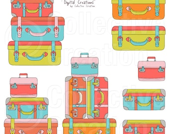 Suitcase Stack Digital Clipart Clip Art - Commercial and Personal Use
