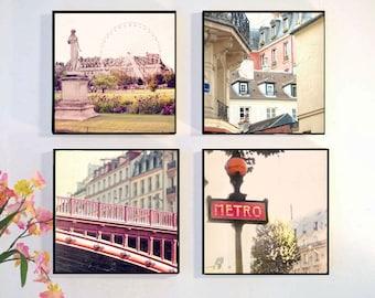 Paris Wall Art Set, Paris Photography Wood Block, Paris Photo Set, Paris Rooftops, Metro Sign, Vintage Look Paris gift idea