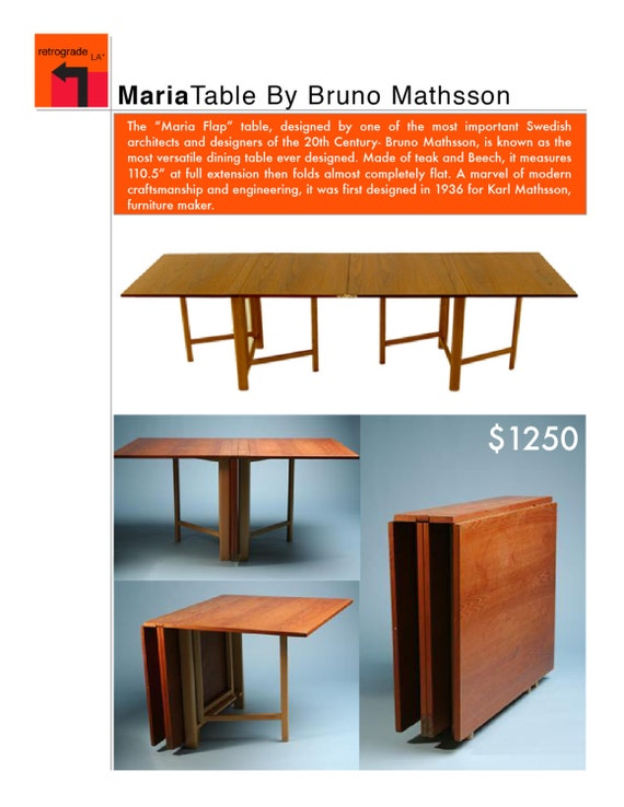Vintage teak maria flap table by bruno mathsson - Maria y bruno ...