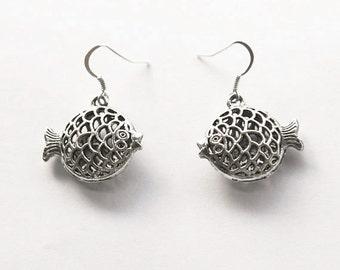 Puffer Blow Fish Charm Earrings Vintage Style, Ocean Earrings