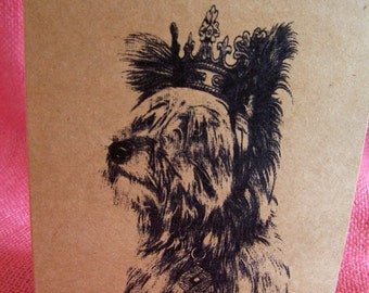 Yorkie Yorkshire Terrier Dog With Crown Full Body Set of ANY 3 Greeting Note Cards Invitations Kraft Cardstock matching envelopes 5 x 7