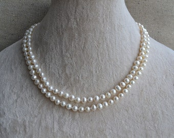 ivory pearl necklace, 2 Rows 16-17 inches 5-6mm Freshwater Pearl Necklace, hand knotted pearl necklace,double strand pearl necklace