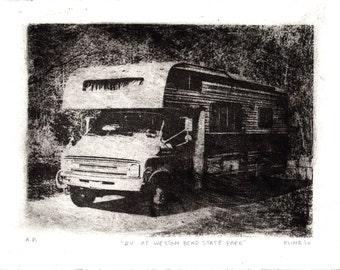 "RV at Weston Bend State Park. Lithograph. 7"" x 9"" Print. Recreational Vehicle."