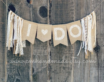 I DO burlap & lace bridal banner