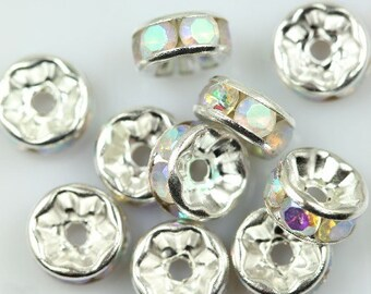 20 Clear AB rhinestone rondelle spacer beads 8mm DB14998