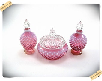 Fenton Cranberry Opalescent Perfume and Powder Set