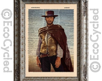 Clint Eastwood -The Good The Bad and the Ugly- on Vintage Upcycled Dictionary Art Print Book Art Print Spaghetti Western bookworm gift