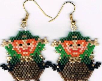 Hand Beaded  Leprechaun and pot of gold earrings