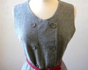 1970s Wool Dress Medium / Gray Grey Wool Jumper / Preppy Clothing / Lined Shift Career Dress / Secretary Dress Wool Dresses 1970s Clothing