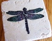 magnet, natural stone, tumbled tile - dragonfly