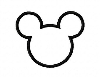 Mickey mouse silhouette applique design instant download