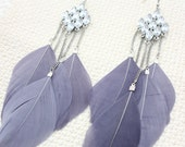 Grey Feather Earrings With Sparkling Crystals Ornaments