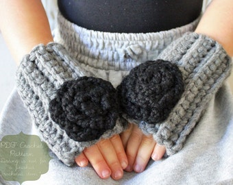 Crochet Pattern: The Gianna Mitts -Toddler, Child, and Adult Sizes- rose, neutral, chunky, fingerless gloves
