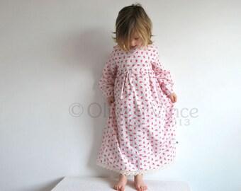 SALE - Girls vintage nightie 2-3yrs SHORT SLEEVE flower fairies summer spring traditional english toddler girl pretty pink floral dress