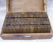 From US New Alphabet Stamp Set Vintage Style Stamp Wooden Box Rubber Stamp Set - Letter Stamps 70 pieces