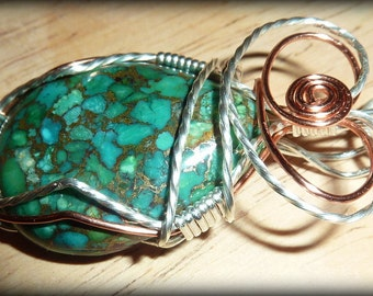 Natural Turquoise Pendant with Pyrite, wire-wrapped in Copper and Sterling Silver, with chain
