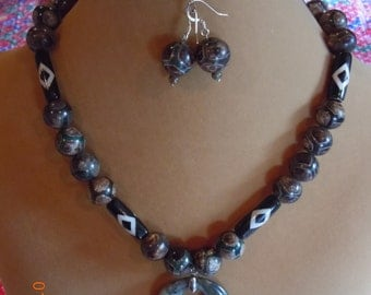 Rustic Tibetian Stone & Hardwood with Bone Inlay Beaded Necklace and Earrings with silver plated Sphere Magnetic Clasp (35)