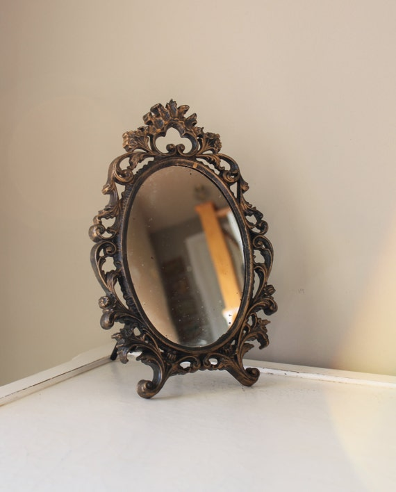 Vintage ornate mirror gold gilded oval by thesquirrelcottage for Gilded baroque mirror