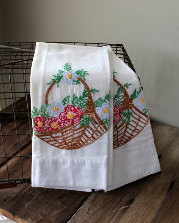 Embroidered flower pillowcases pillow cases by