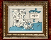 Custom Map Art Print LOUISIANA VIntage Map Retro Personalized Map Wedding Housewarming Gift Home Decor Wall Decor 8x10 All 50 States Avail.