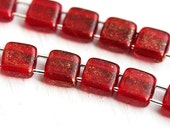 Gold marbled Ruby Red Two hole Czech Square Beads - 6mm - 20Pc - 0565