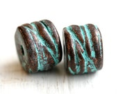 Green patina round tube beads, metal copper carved rustic beads, 10x13mm, metal casting - 2Pc - 0731