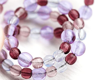Czech glass beads Violet Purple mix, round spacers, druk, small - 3-4mm - approx.200Pc - 0579