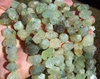 Natural Green Garnet Irregular Nugget Faceted Beads Strand, 16-Inch Strand(G01143)