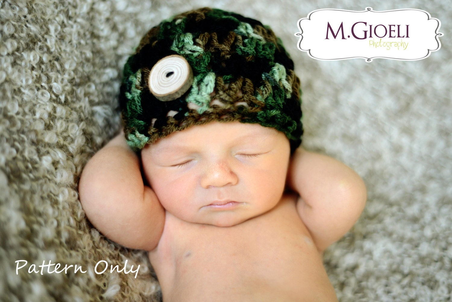 Crochet hat pattern camo button beanie newborn adult camo hat this is a digital file bankloansurffo Images
