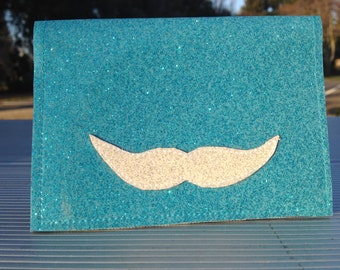 Glitter Vinyl Billfold Wallet With Mustache
