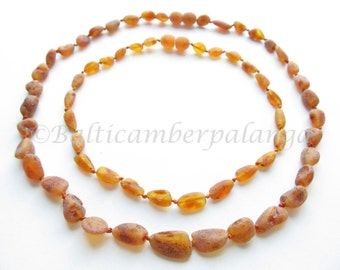 Set Of  Cognac Color Raw Unpolished Baltic Amber Baby Teething Necklace For Baby and Reminding Necklace For Mommy