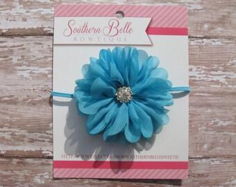 Baby headband, infant headband, newborn headband - turquoise blue chiffon scalloped ruffle flower and rhinestone center headband
